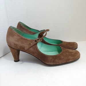 Anthro Audley of London brown suede heels